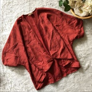 Pins and Needles Burnt Red Textured Open Cardigan